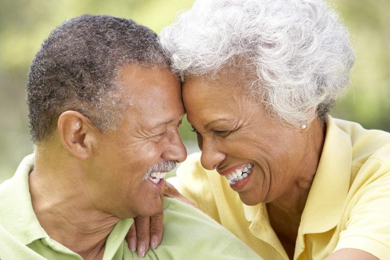senior couple smiling happy love ethnic